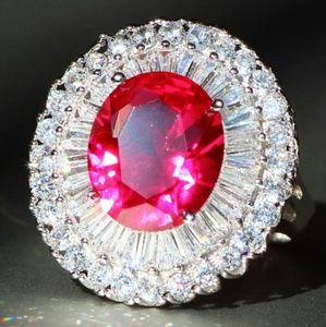 10ct Red Sapphire & Cubic Zircon Cocktail Ring